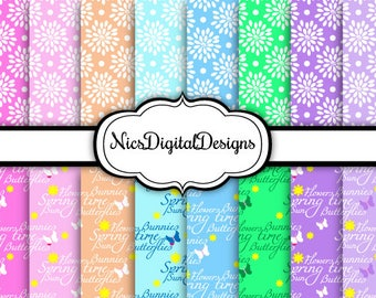 Buy 2 Get 1 Free-16 Digital Papers. Peonies and Spring Time (5C no 3) for Personal Use and Small Commercial Use Scrapbooking