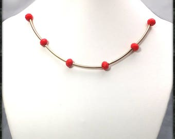 The Choker necklace red beads tubes