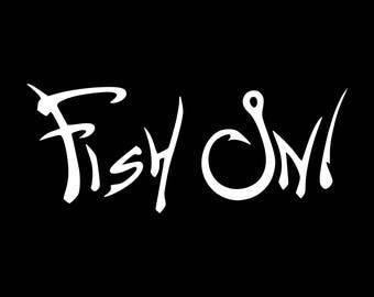 FISH ON Fishing Hooks Vinyl Decal Sticker Reel Rod Car Truck Boat Kayak Hunting Fish Outdoors Tumbler Cooler Window Laptop