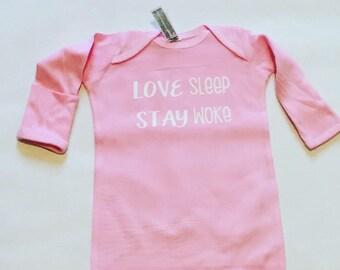 Love Sleep Stay Woke Sleep Gown