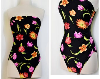 Cole of California Black and Neon Strapless Floral Swimsuit
