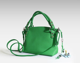 Green Leather bag soft leather handbag Italian cow leather crossbody women's handbag green shoulder bag small leather purse minimalist bag