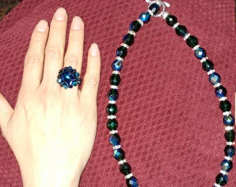 Handmade Jewelry Set with Crystal beads. Necklace, Bracelet and Ring