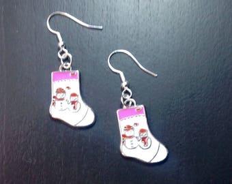 Christmas boots earrings
