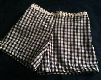 SHANNON Handmade Summer Shorts in navy blue and white gingham fabric
