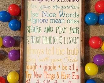 Playroom rules. Wood sign. Rustic decor