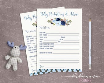 Blue Floral Baby Shower Predictions Advice Game Boy Baby Digital Tribal Aztec Shower Trivia Cute Boy Printable Quiz Card Baby Game - CG008