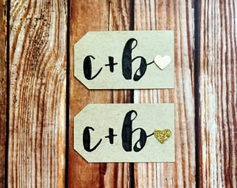 Engagement party decor, set of 25 custom handmade blush and gold wedding paper tags, eco-friendly bridal shower favor labels, DIY wedding