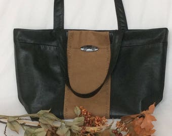 Black and Tan Leather Tote