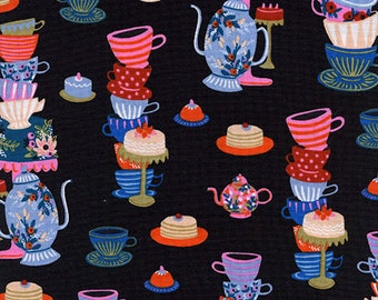 One Yard Cut - Mad Tea Party in Black - Wonderland by Rifle Paper Company -  Quilters Cotton - Fabric by the Yard