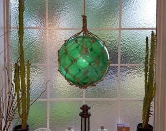 Nautical Light Pendant, Green Pendant, Emerald, Tiki, Fishermans Float, Rope Lamp, Beach Decor, Nautical Home Decor, Fishnet, Globe, Sailing