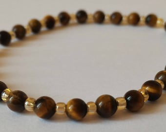 Bracelet 4 mm Tiger eye and yellow seed beads