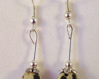 Earrings Dalmatian Jasper beads 8mm