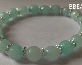 Amazonite, relaxation stone bracelet, 8 mm faceted beads