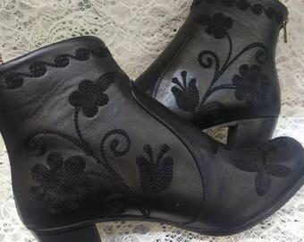 Boots...Leather on leather. Embroidery...Every size is possible..