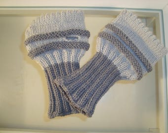 Hand warmers, wrist warmers, arm warmers knitted grey light grey