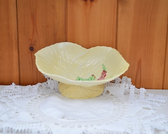 Vintage CARLTONWARE yellow cabbage leaf footed dish/ handpainted dish/1930s tableware