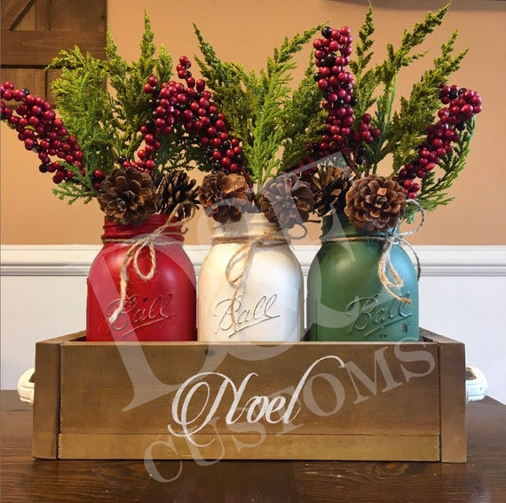 Mason jar christmas centerpiece noel
