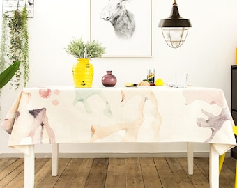 Coral Sea World Ocean Tablecloth / White Rectangle Tablecloth / Picnic  Tablecloth / Outdoor Indoor Tablecloth