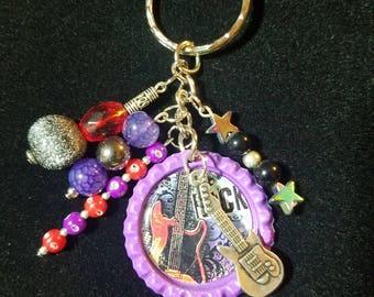 Rock* beaded bottlecap keychain