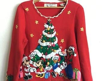 1996 MICHAEL SIMON DISNEY Vintage Christmas Sweater // Size Xlarge