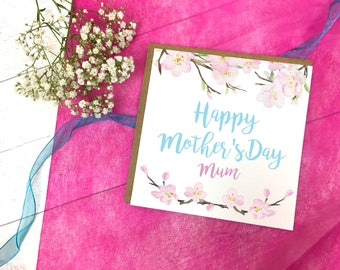 Personalised Cherry Blossom Mothers Day Card - Cherry Blossom Card - Cherry Blossom Greetings Card - Mothers Day Card - Blossom Card