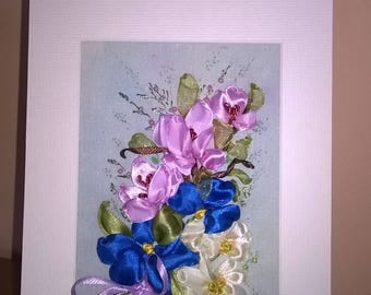Embroidered card.ribbon embroidery greeting card.Bouquet of flowers.For all ocassions.Gift.