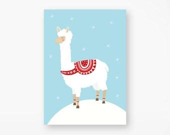 "Postcard ""Christmas alpaca"""