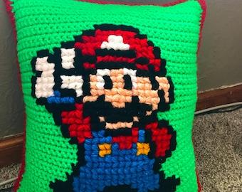 Mario Themed Pillow, Nintendo Pillow, Crochet Mario Brothers Decorative Pillow