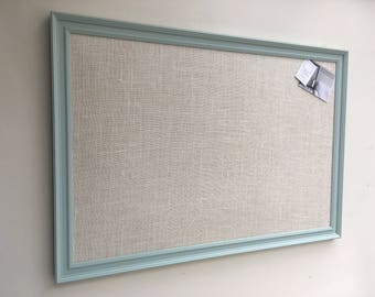 Large blue pin board. Blue notice board. Blue bulletin board. Fabric memo board. Fabric message board. Hessian cork board. Hessian pin board