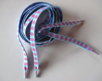 shoelace blue sky with flower pink polyester 1.10 m.