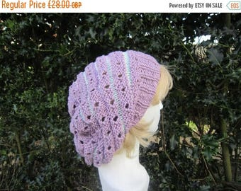 ON SALE Purple slouchy hat (Leonora). Slouchie. Cotton. Knit. Lacy hat. Snood. Beret. Available MADE To Order in other colours.