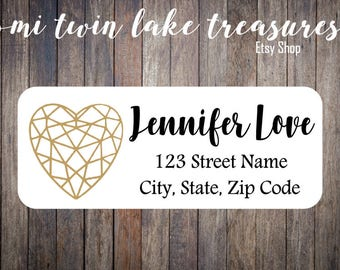 Faux Gold Heart Return Labels / Adhesive Address Labels / Guest Invitation, Mailing Labels / Valentines Day Labels, Geometric Love Heart