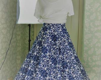Blue floral long circle skirt