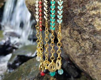 Vibrant Bullet Bracelet w/Enamel Fishtail/Herringbone/Chevron/Arrow Chain