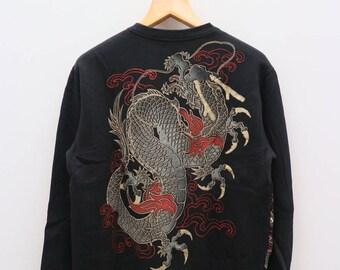 Vintage SUKAJAN Japanese Double Dragon Souvenir Black Sweater Sweatshirt Size XL