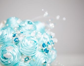 Turquoise and White ribbon with turquoise brooches bouquet