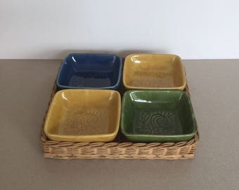 Mid century ceramic party bowls on a tray basket