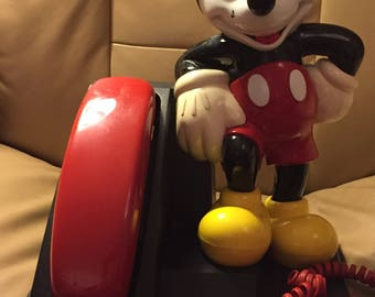 Vintage AT&T Mickey Mouse Standing Desktop Push Button Phone Telephone TESTED WORKING