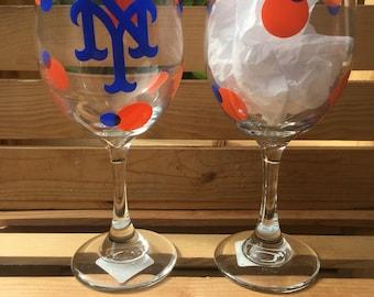 New York Mets Wine Glass