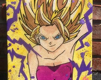 Dragon Ball Super Painting - Caulifla Painting  - Resin Painting - DBZ Art - Deviant Art - Super Saiyan - Resin - Selenite Crystals