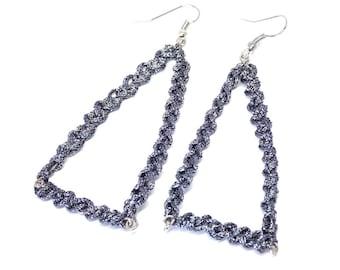 Earrings Triangle Dark Grey Crochet Silver Metal