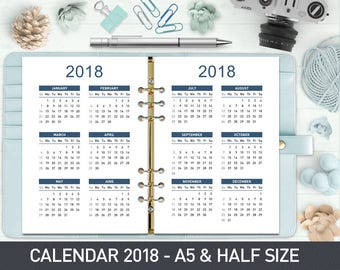 2018 Yearly Calendar A5, 2018 Printable Calendar,  2018 Yearly Planner A5, Printed A5 Yearly Calendar 2018 Yearly Planner insert