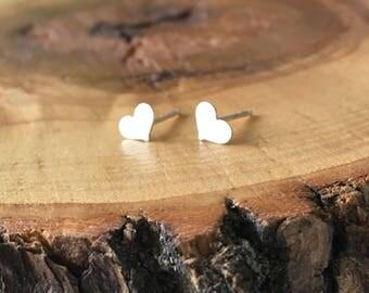 Sterling Silver Heart Stud earrings; heart earrings, silver studs; gift for her; earrings for girls