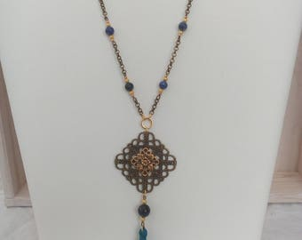 Bohemian Necklace blue, gold and bronze