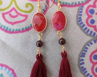 Earrings Bohemians Fuchsia agate and Garnet version