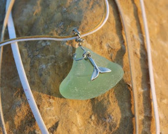 Whale's Tail Sea Glass Necklace
