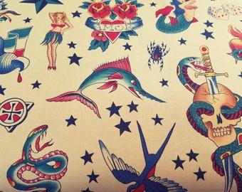 Alexander - Henry - tattoo - mermaid - heart - Skull - skulls - Star - bird - shark - hula - girl -  fabric - quilting - cotton