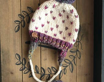 Ear flap pom pom hat, double pom hat, double pom ear flap string hat