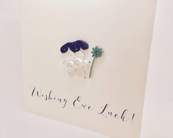 Wishing Ewe Luck! - Handmade Little Sheep Quilled Good Luck greetings card